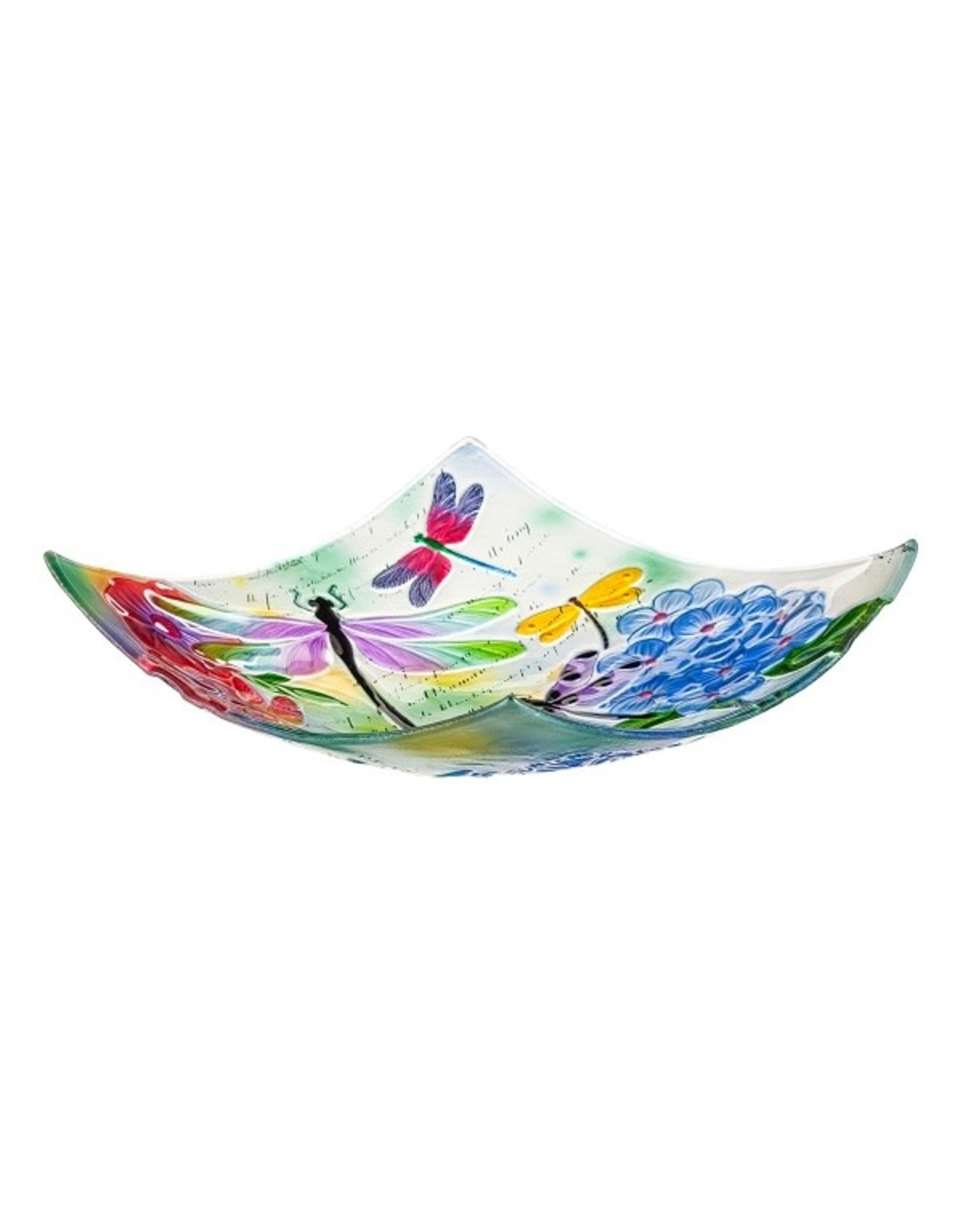 Evergreen DRAGONFLY SQUARE GLASS BIRD BATH