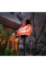 Evergreen CARDINAL ART GLASS SOLAR STAKE