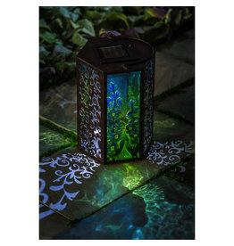 Evergreen BLUE GLASS & METAL SOLAR LANTERN
