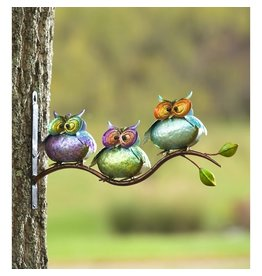 Evergreen METAL OWLS ON BRANCH