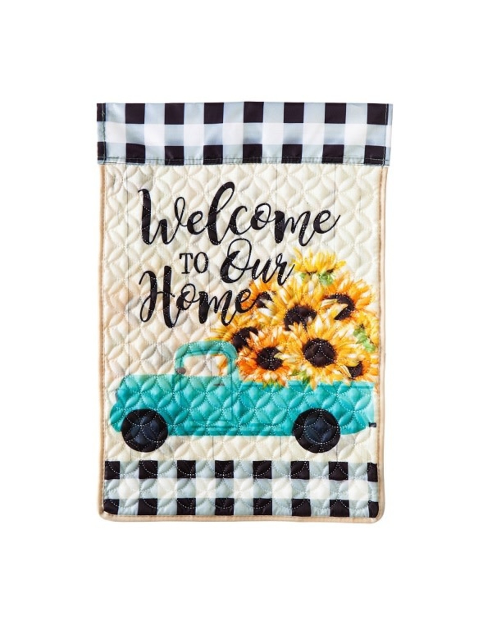 Evergreen SUNFLOWER TRUCK QUILTED GARDEN FLAG