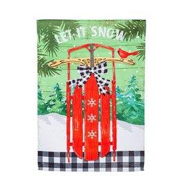Evergreen LET IT SNOW SLED GARDEN FLAG