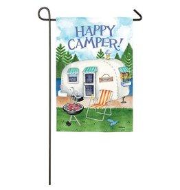 Evergreen HAPPY CAMPER GARDEN FLAG