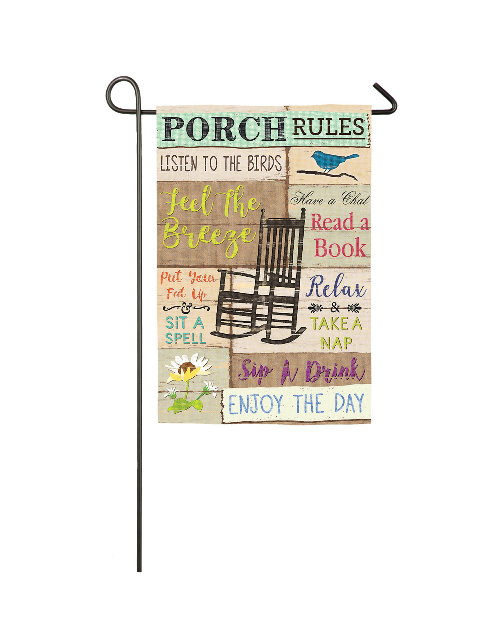 Evergreen PORCH RULES GARDEN FLAG