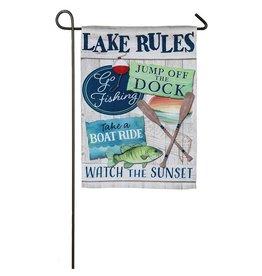 Evergreen LAKE RULES GARDEN FLAG