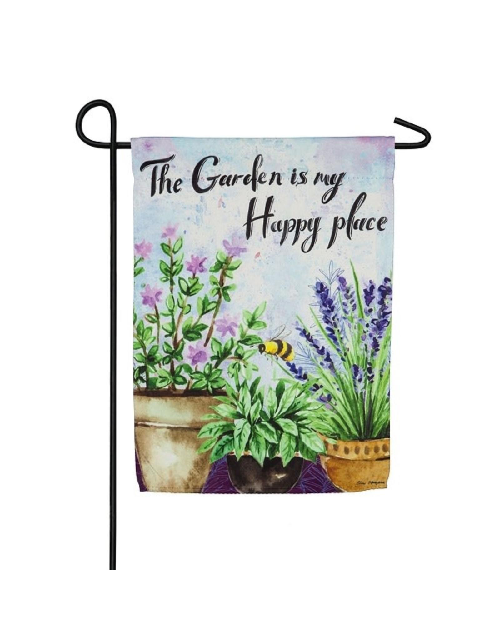 Evergreen HAPPY PLACE GARDEN FLAG