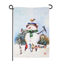 Evergreen SNOWMAN SONGBIRDS GARDEN FLAG
