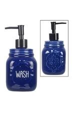 Youngs BLUE MASON JAR SOAP DISPENSER