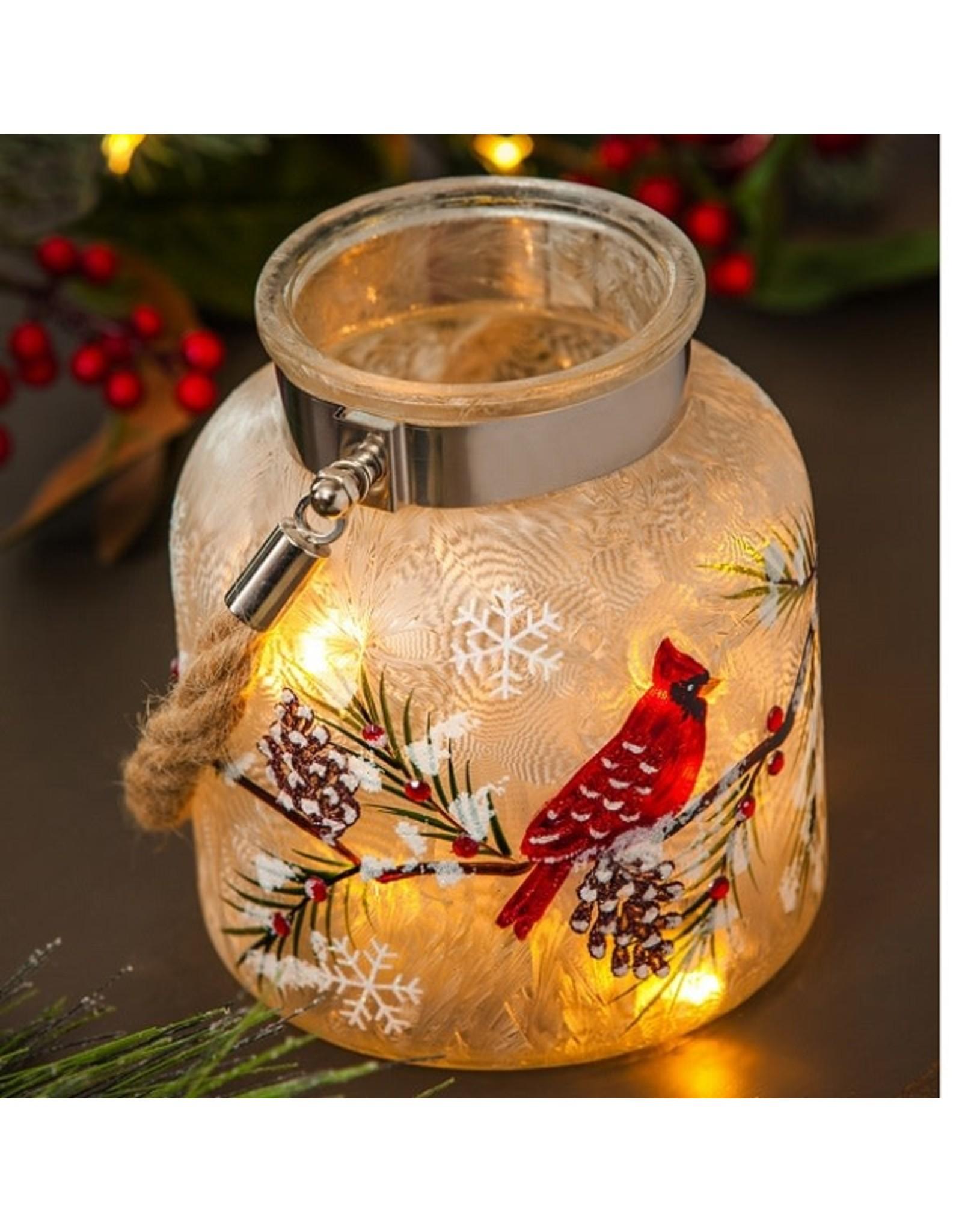 Evergreen CARDINAL PINE LED GLASS JAR