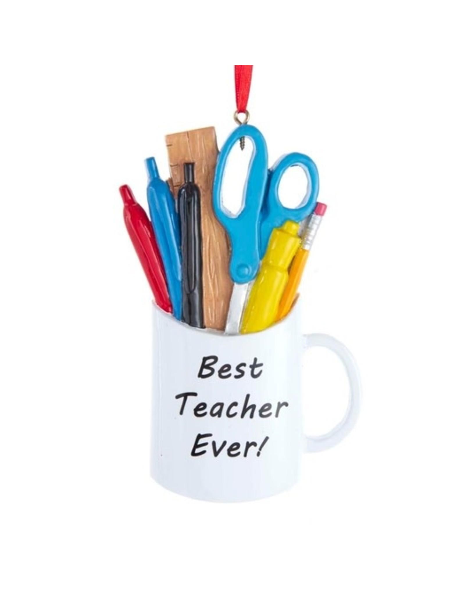 Kurt Adler BEST TEACHER MUG ORNAMENT