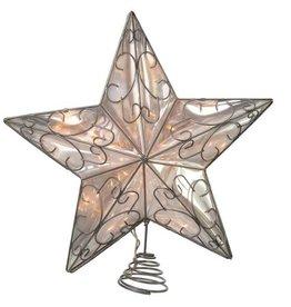 Kurt Adler SILVER WIRE STAR LIGHTED TREETOP