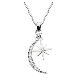 Kit Heath CRESCENT MOON AND STAR CUBIC ZIRCONIA NECKLACE