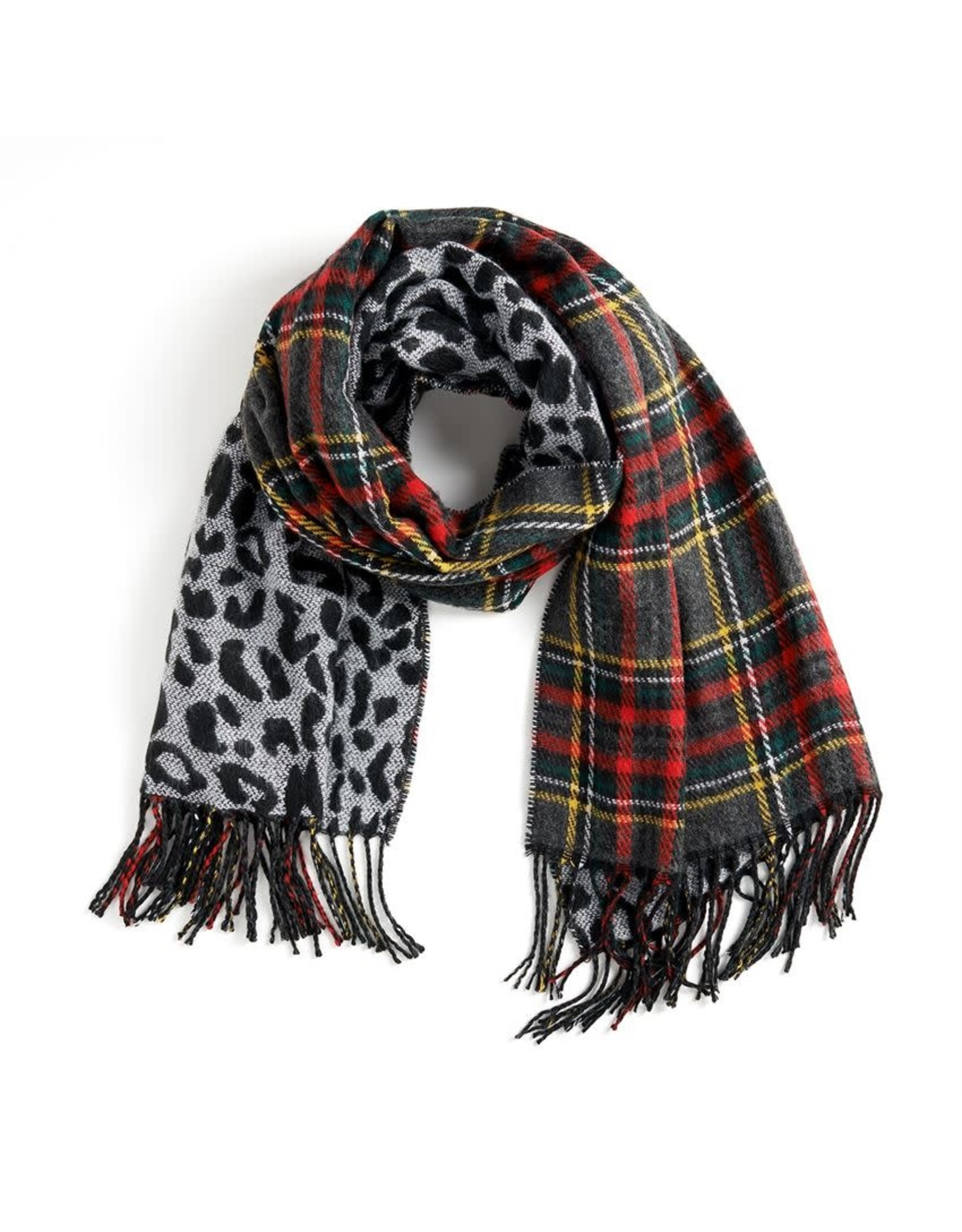 TGB / Good Bead ABOUT FACE REVERSIBLE OBLONG SCARF BLACK RED & LEPORD