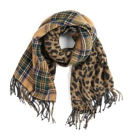 TGB / Good Bead ABOUT FACE REVERSIBLE OBLONG SCARF TAN LEPORD