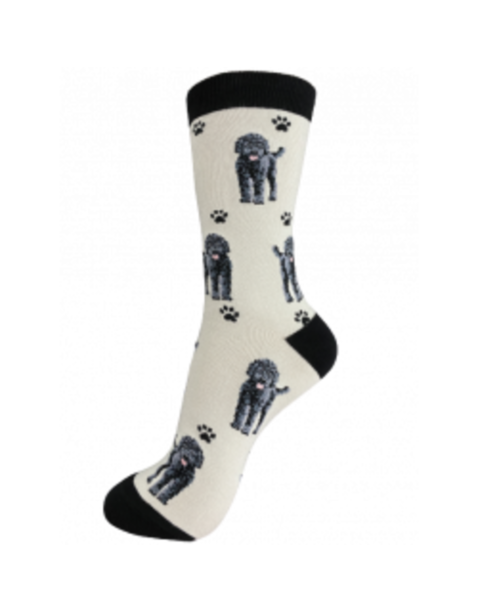 E and S LABRADOODLE BLACK HAPPY TAILS SOCKS