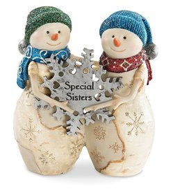 "Pavilion Gift SISTERS SNOWMEN HOLDING SNOWFLAKE"" 5"""