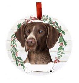 E and S GERMAN SHORTHAIRED POINTER WREATH ORNAMENT