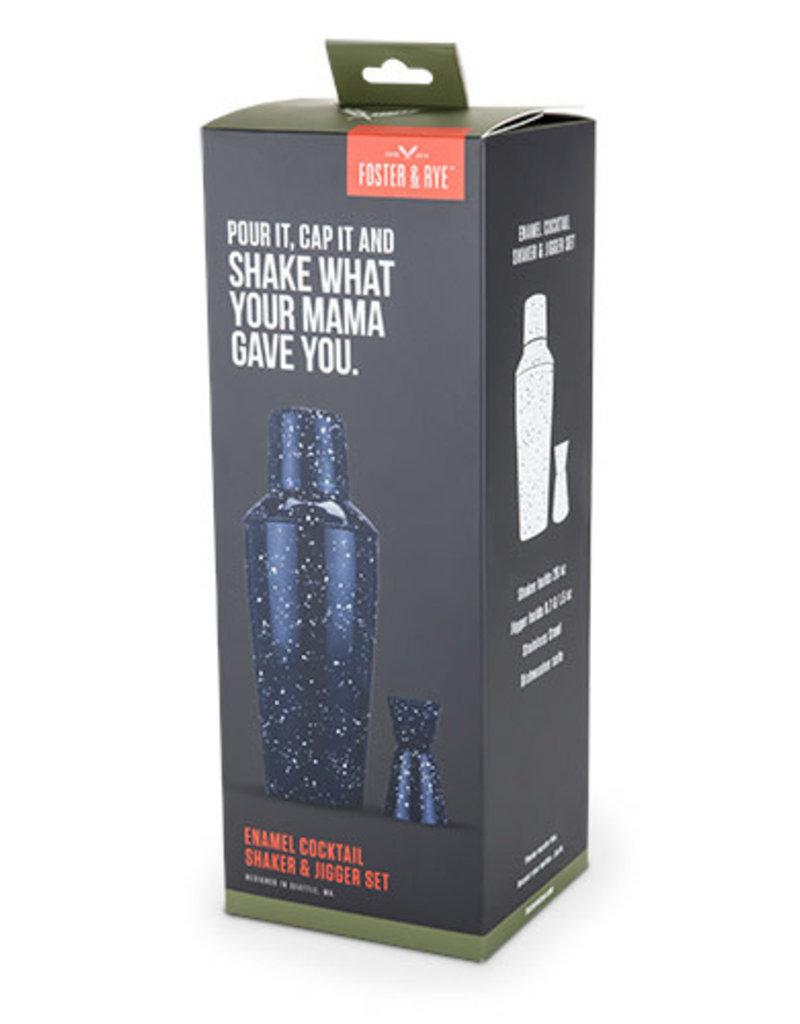 Enamel Cocktail Shaker and Jigger Set
