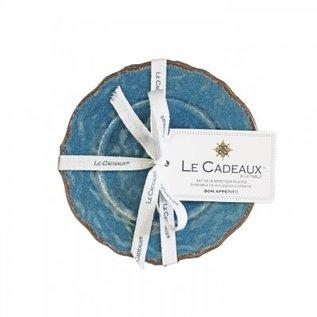 Le Cadeaux Antiqua Blue Appetizer Plates in 4