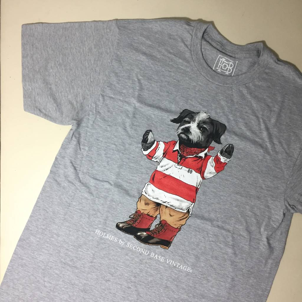 2ND BASE VINTAGE Holmes Bear SS T-Shirt Sport Grey