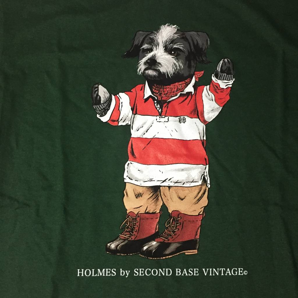 2ND BASE VINTAGE Holmes Bear SS T-Shirt Dark Green