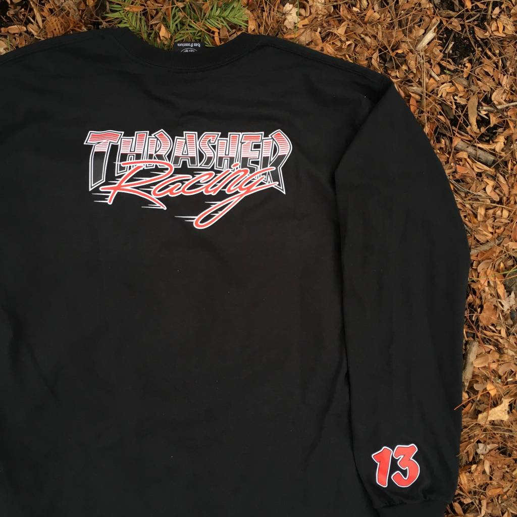 THRASHER MAGAZINE Thrasher Racing LS T-Shirt Black