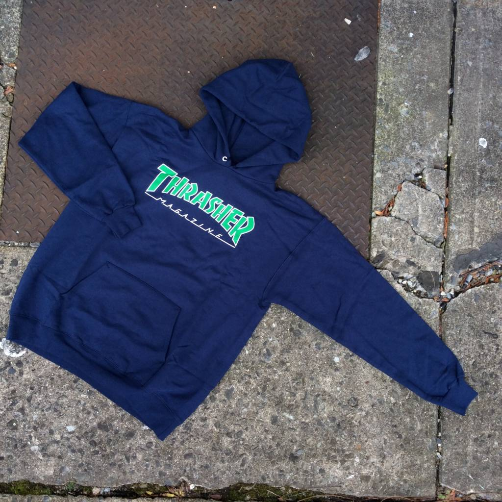 THRASHER MAGAZINE Outline Mag Logo Pullover Hoody Navy