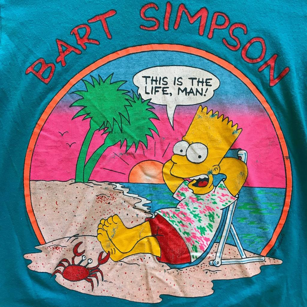 """2ND BASE VINTAGE Vintage Bart Simpson """"This is the life"""" T-Shirt MD"""