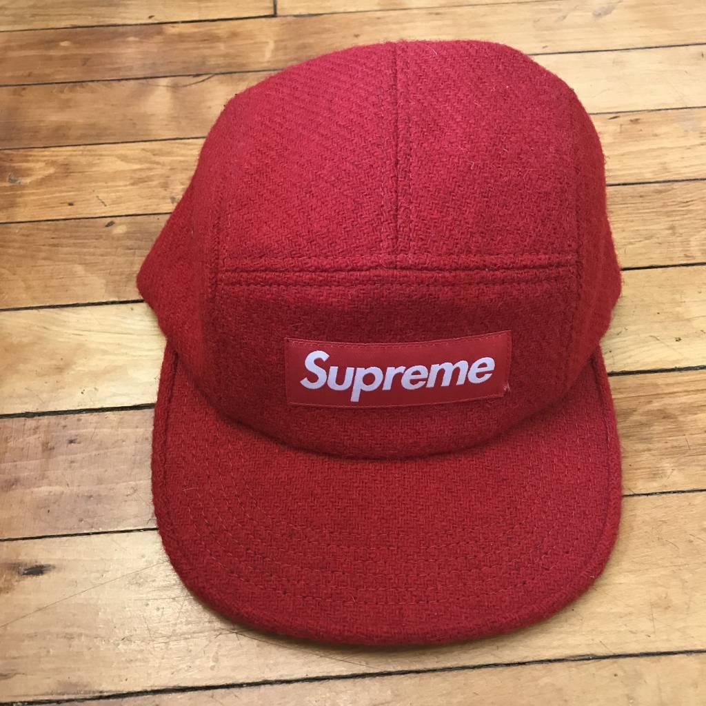 Supreme x Harris Tweed Box Logo 5-Panel Hat In Red OS