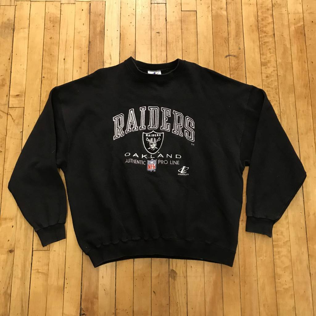 2ND BASE VINTAGE Raiders Embroidered Spell Out Logo Crew Sweatshirt  XL