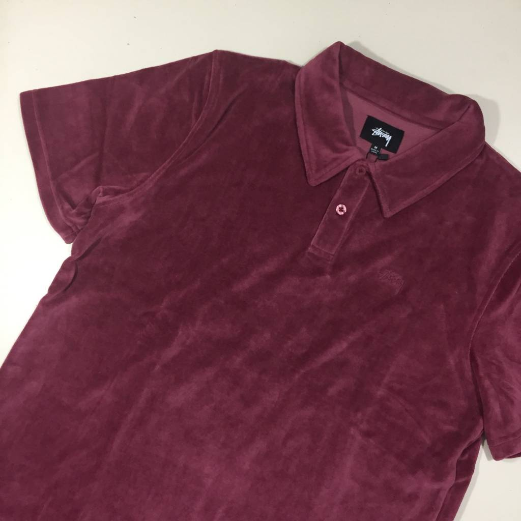 STUSSY Victor SS Polo Shirt Maroon