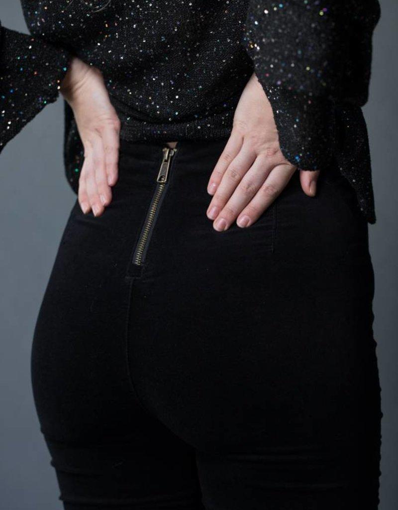 Kendall and Kylie Black Velvet Pant