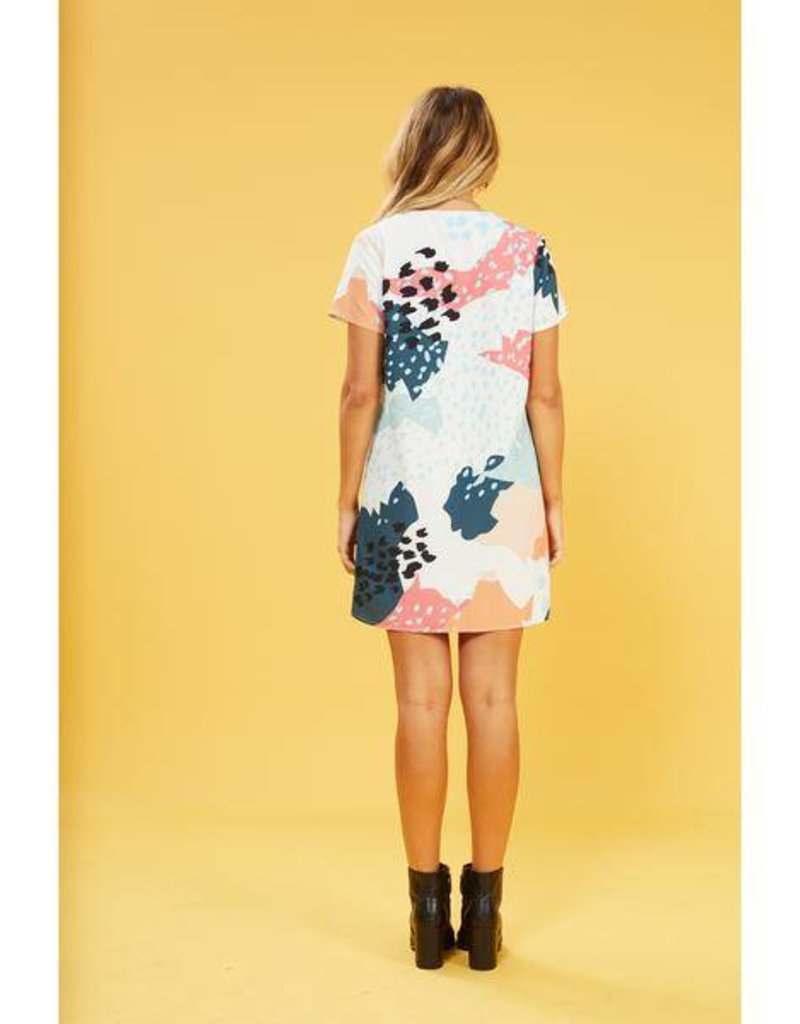 Mink Pink Coral Sea Abstract Tunic Dress