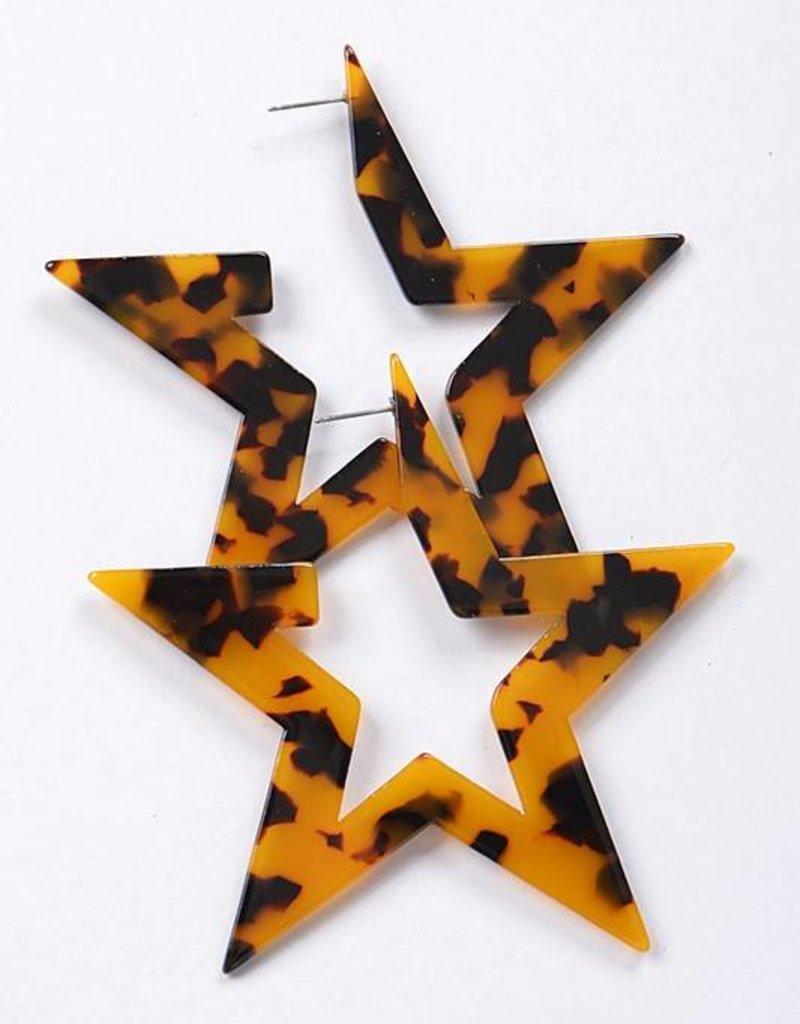 Ernest & Kelly Tortoiseshell Star Earrings