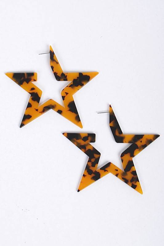 Ernest & Kelly Tortoiseshell Star Earrings