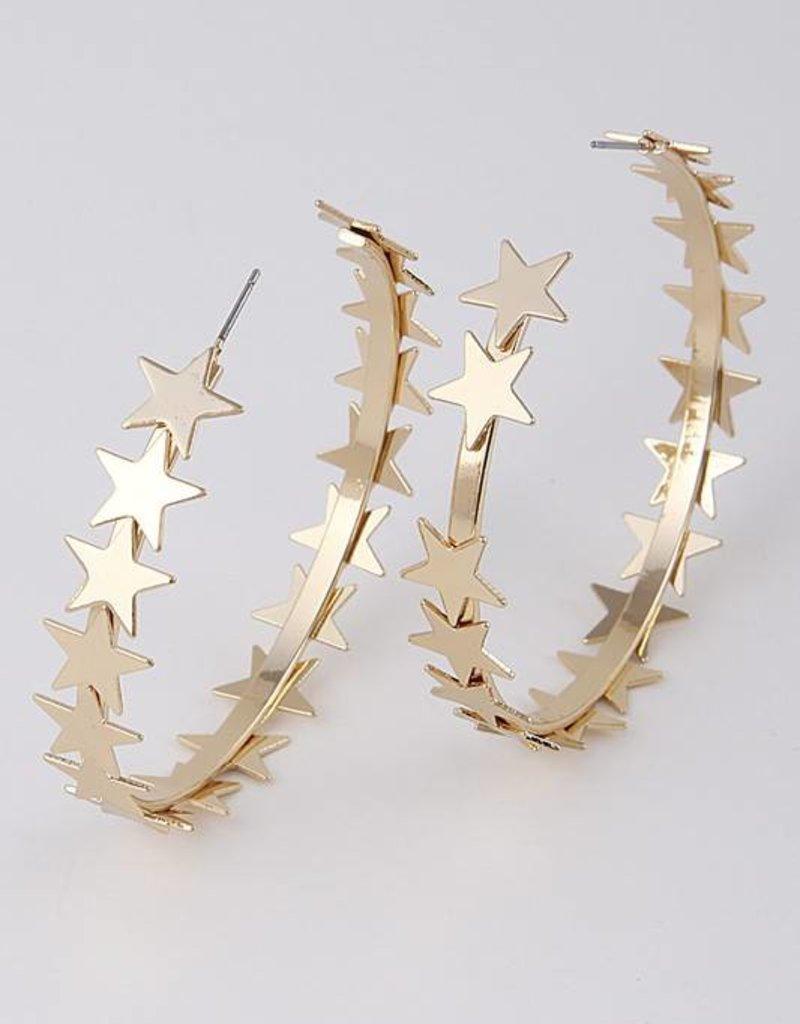 Ernest & Kelly Multi Star Hoop Earrings