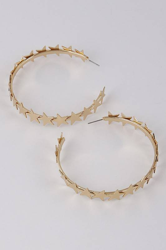 Ernest & Kelly Multi Star Hoop Earrings