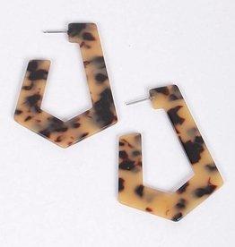 Ernest & Kelly Tortoiseshell Rectangle Earrings