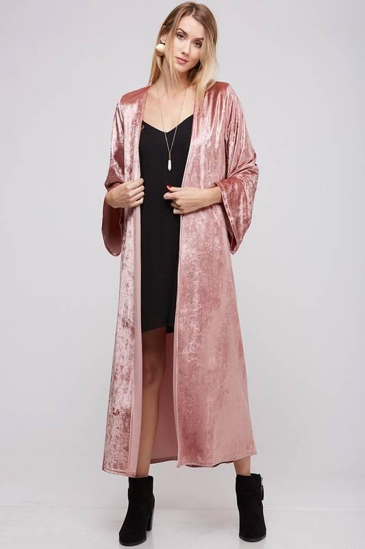 Capsule Crushed Velvet Long Kimono