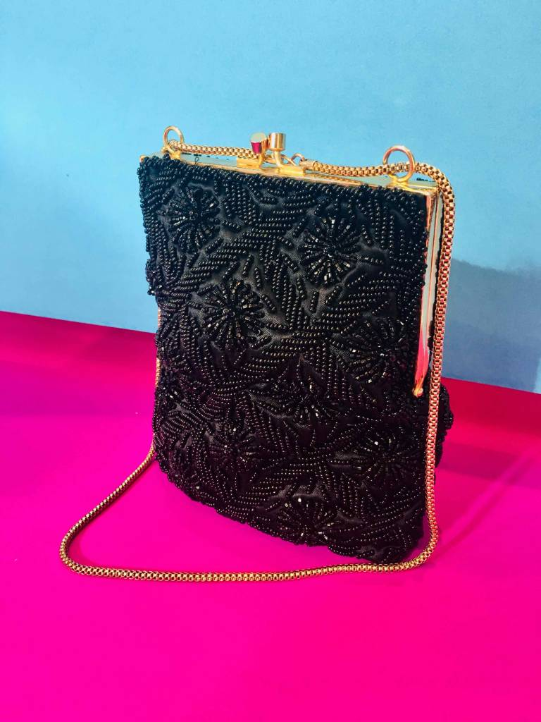 Black Beaded Stand Up Clutch