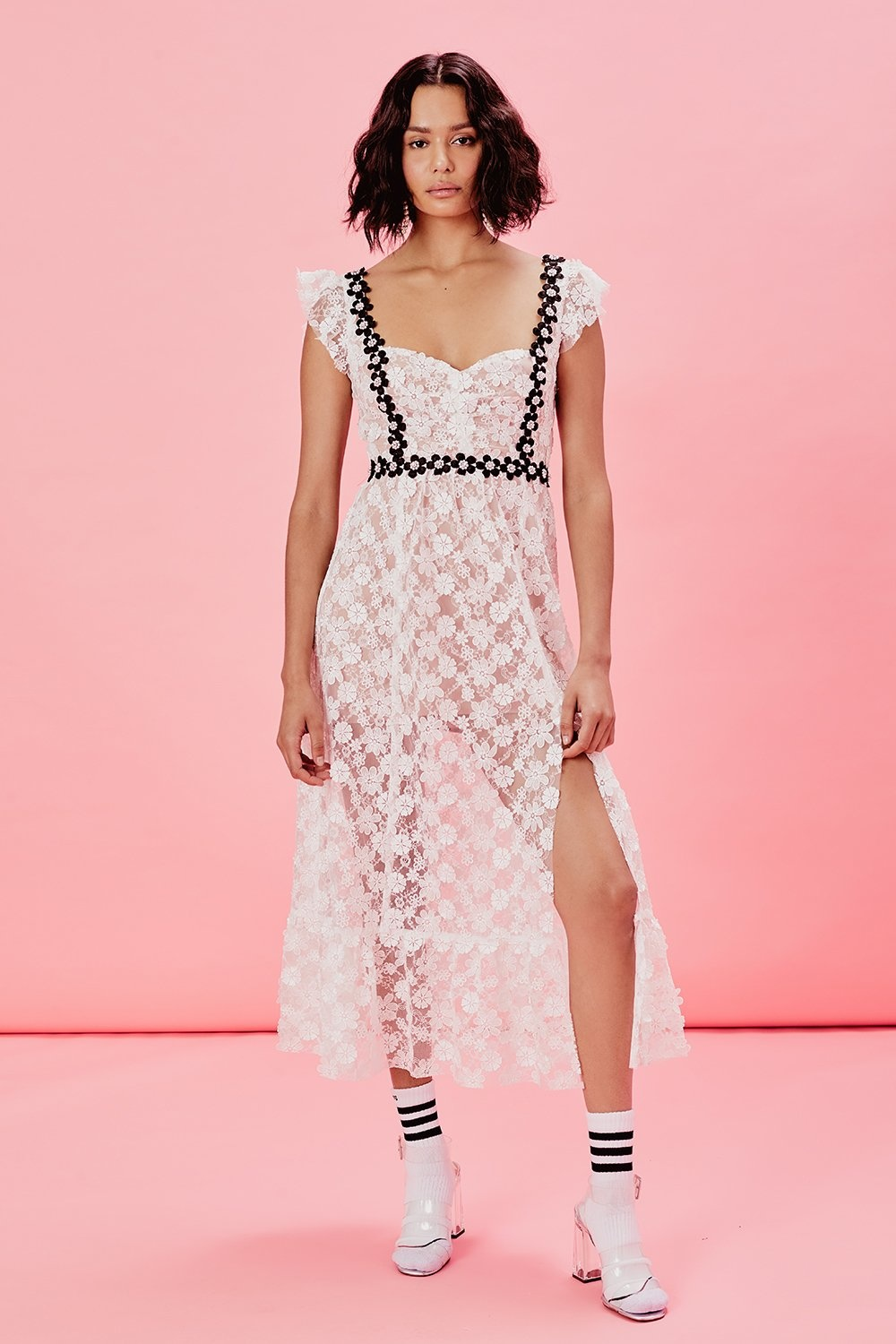For Love And Lemons Isable Embroidered Midi Dress