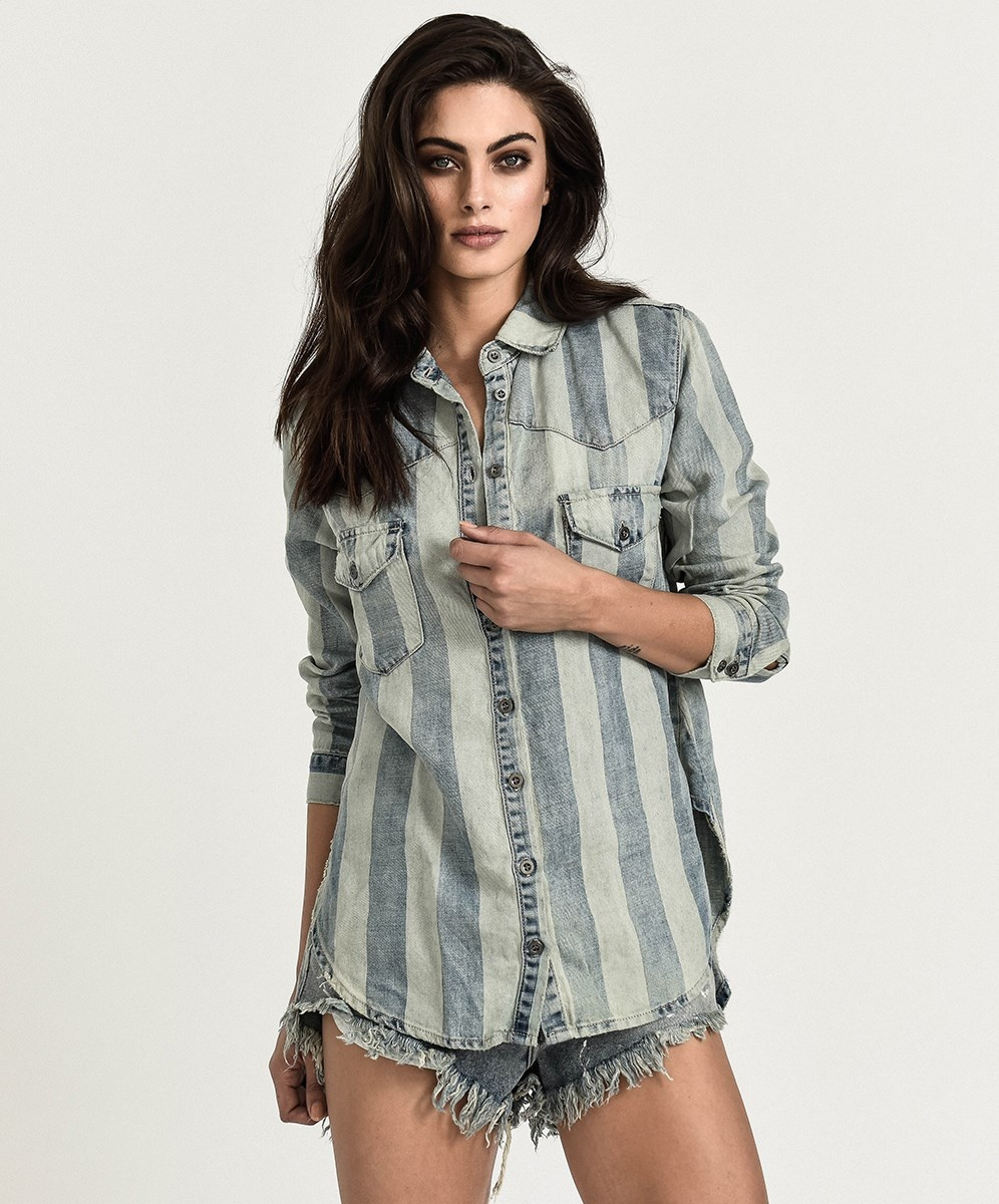One Teaspoon French Stripe Linen Shirt