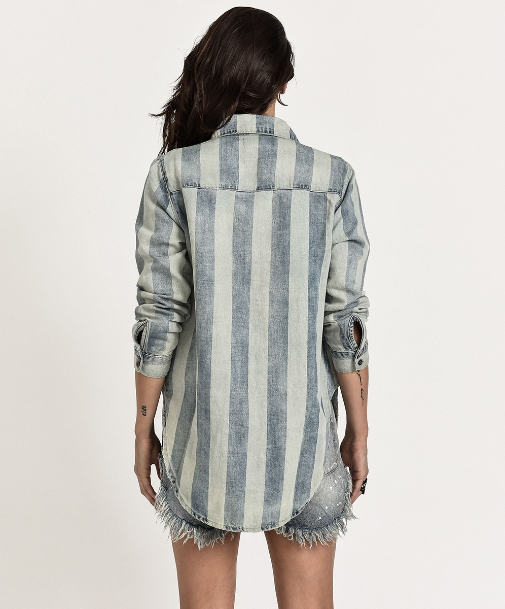 One Teaspoon French Stripe Linen Shirt