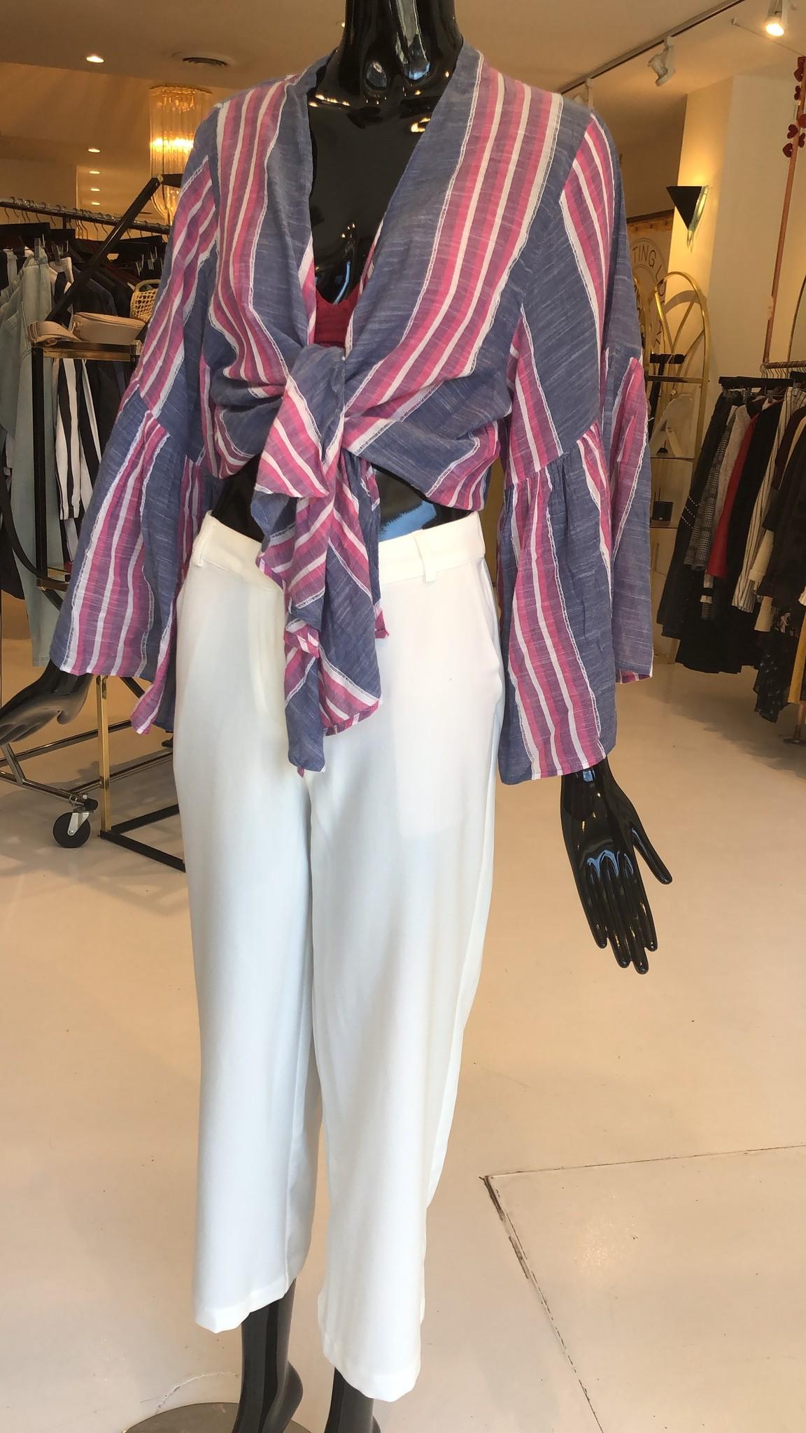Elan 3/4 Sleeve Stripe Tie Top