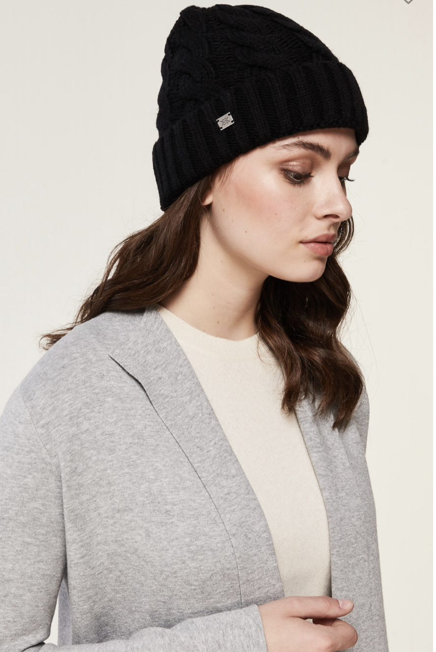 Soia & Kyo Amalie Touque - Black w/ Brown Pom