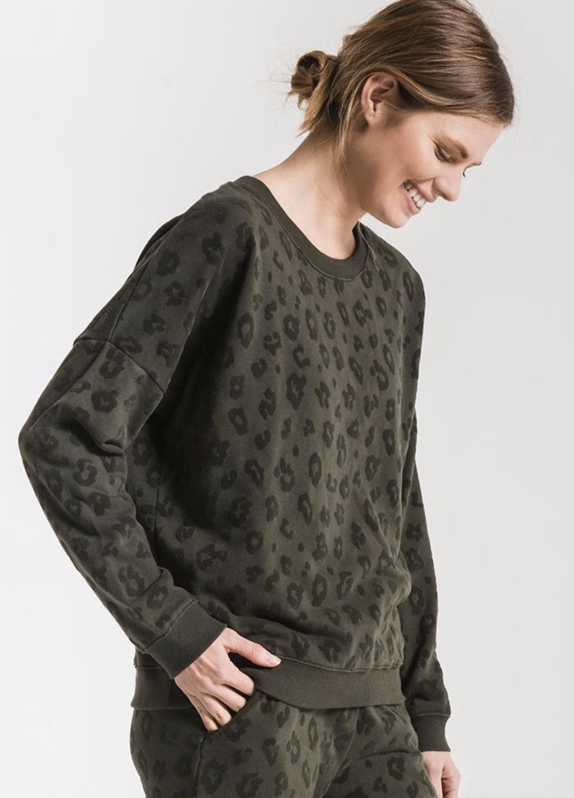 Z Supply Velvet Flocked Leopard Pullover