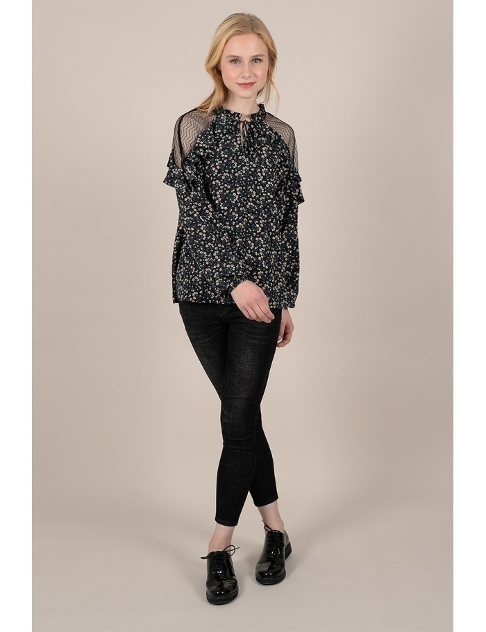 Molly Bracken Sheer Shoulder Blouse