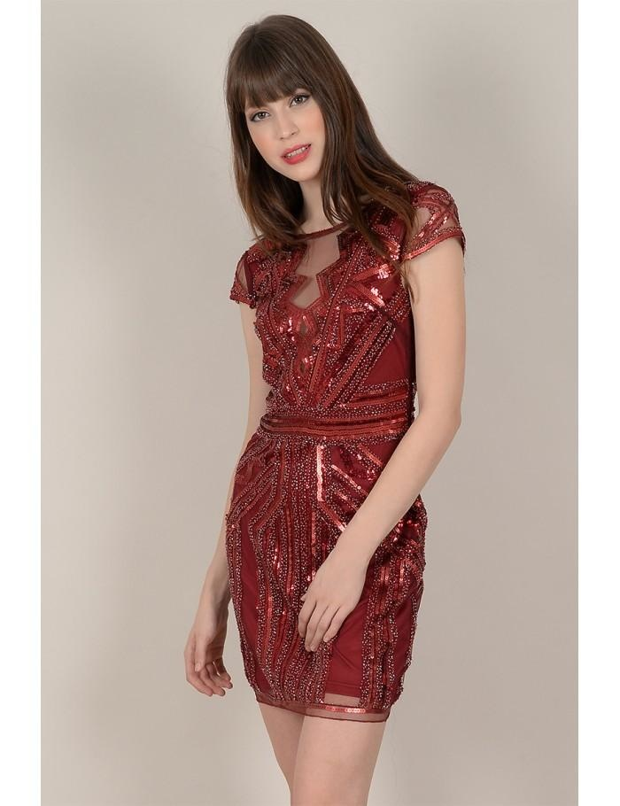 Molly Bracken Beaded Sequin Cap Sleeve Dress