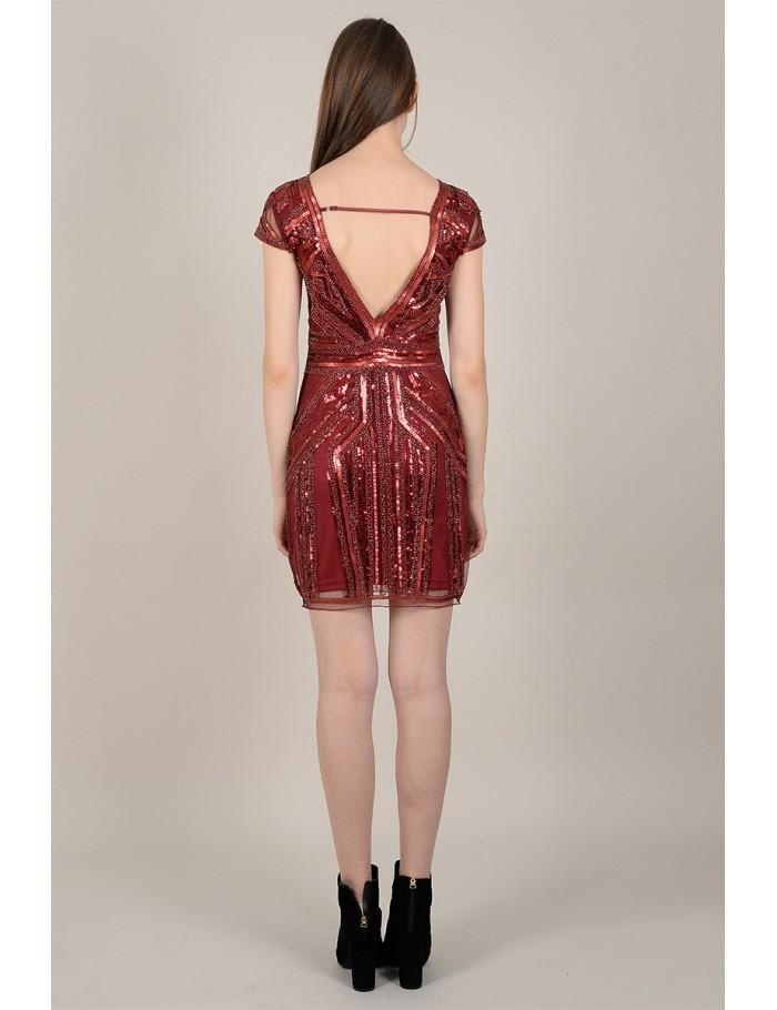 Molly Bracken Beaded Sequin Cap Sleeve Dress