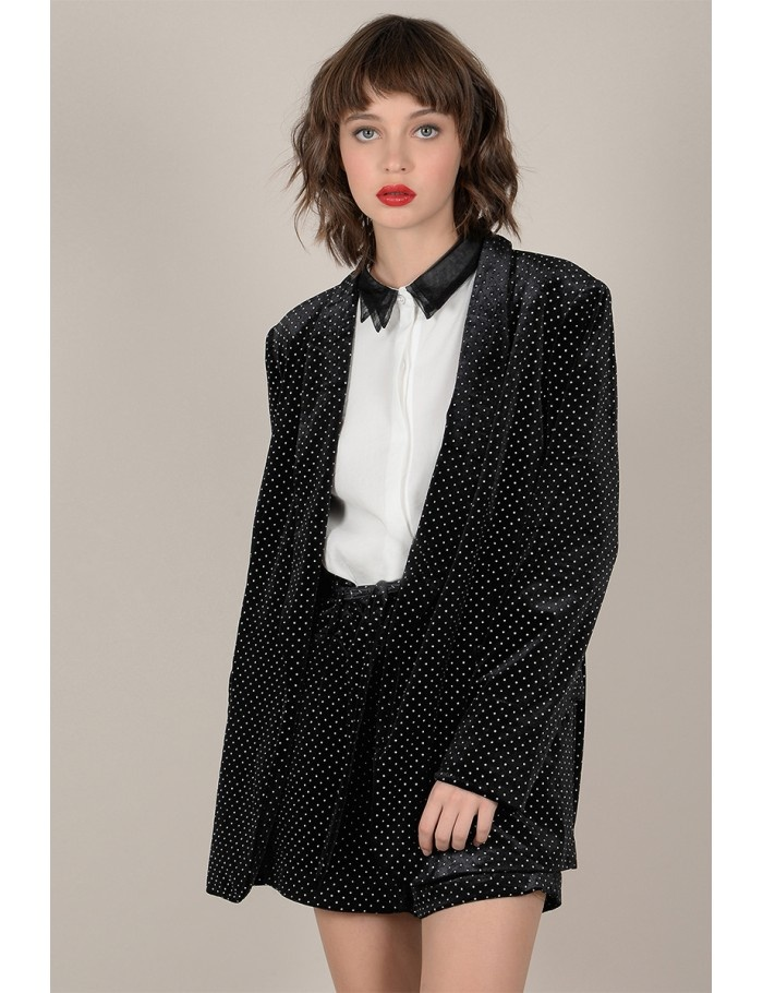 Molly Bracken Silver Dot Velvet Blazer